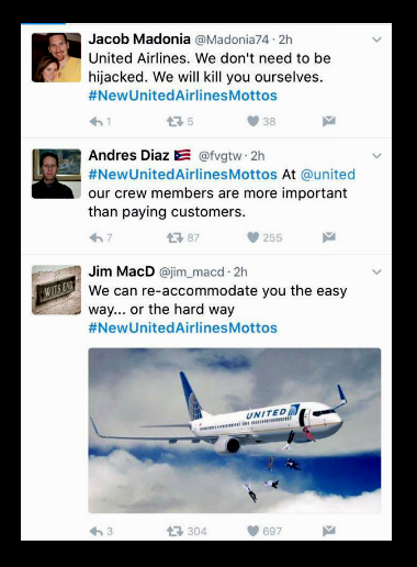 people's reaction toward united airline